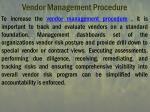 vendor management procedure
