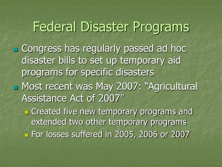 Federal Disaster Programs