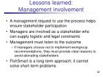 lessons learned management involvement