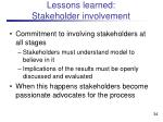 lessons learned stakeholder involvement