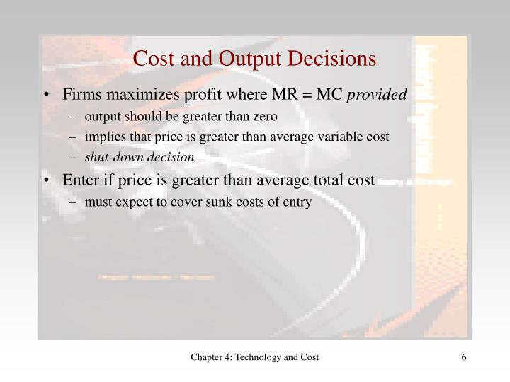 Cost and Output Decisions