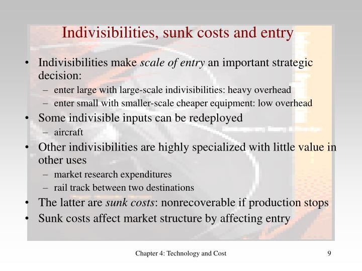 Indivisibilities, sunk costs and entry