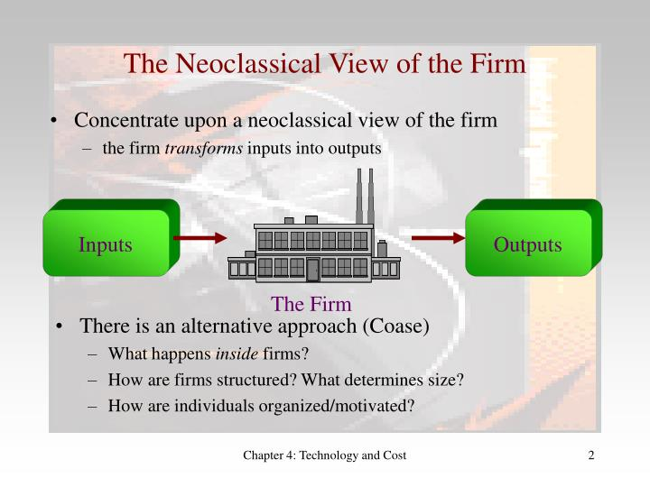 The neoclassical view of the firm