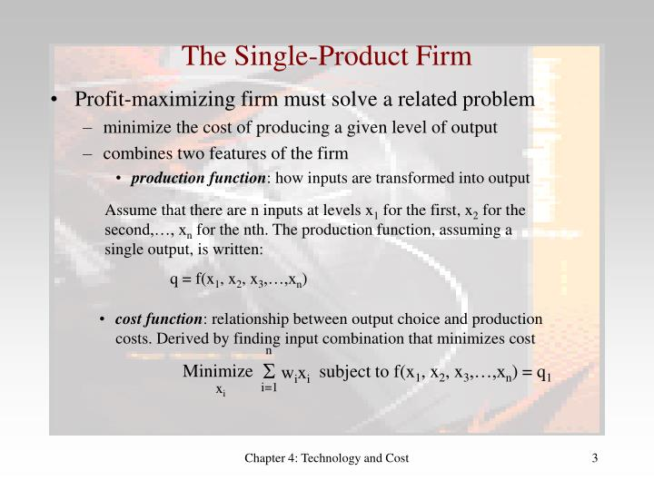 The single product firm