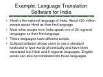 example language translation software for india