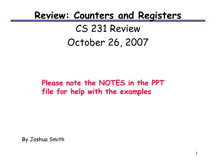 Review counters and registers