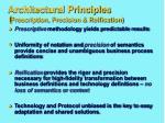 architectural principles prescription precision reification