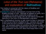 lotus of the true law mahayana and explanation of bodhisattvas