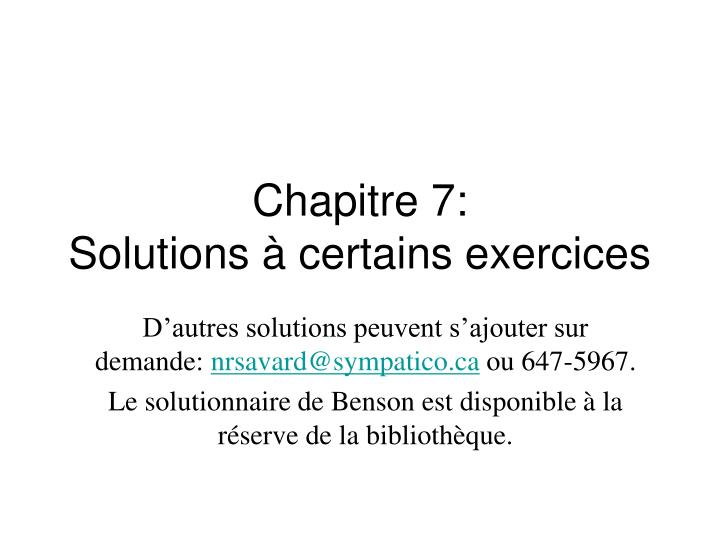 chapitre 7 solutions certains exercices n.