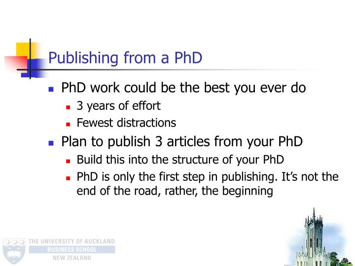Publishing from a PhD
