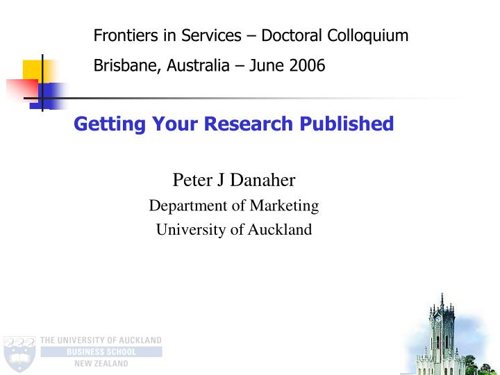 Frontiers in Services – Doctoral Colloquium
