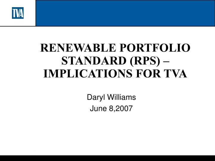 renewable portfolio standard rps implications for tva n.