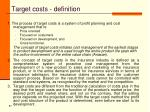 target costs definition