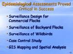 epidemiological assessments proved critical in success