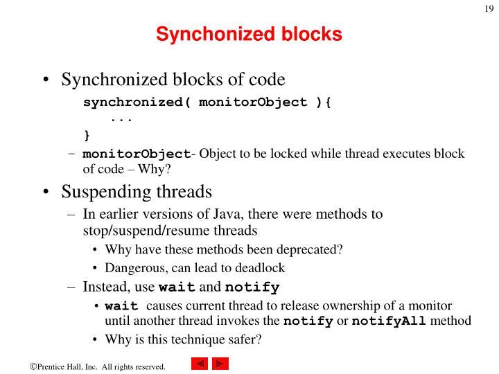 Synchonized blocks