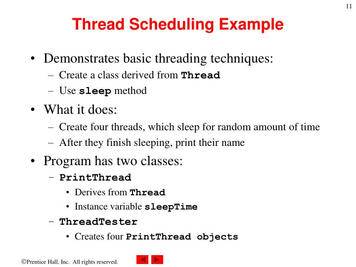 Thread Scheduling Example