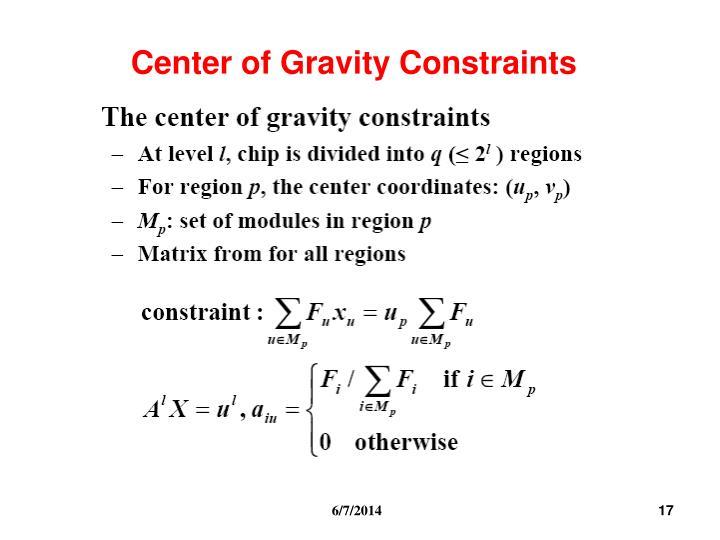 Center of Gravity Constraints