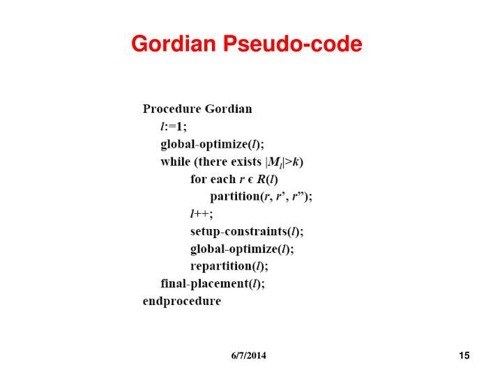 Gordian Pseudo-code