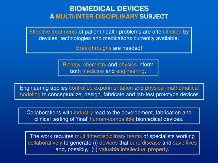 biomedical devices a multi inter disciplinary subject n.