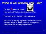 profile of u s exporters 2006 20072