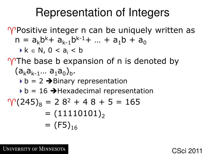 Representation of Integers
