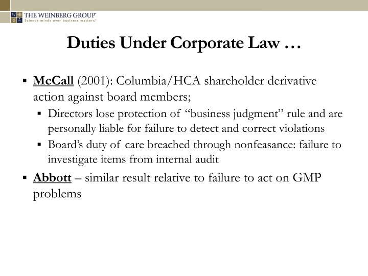 Duties Under Corporate Law …