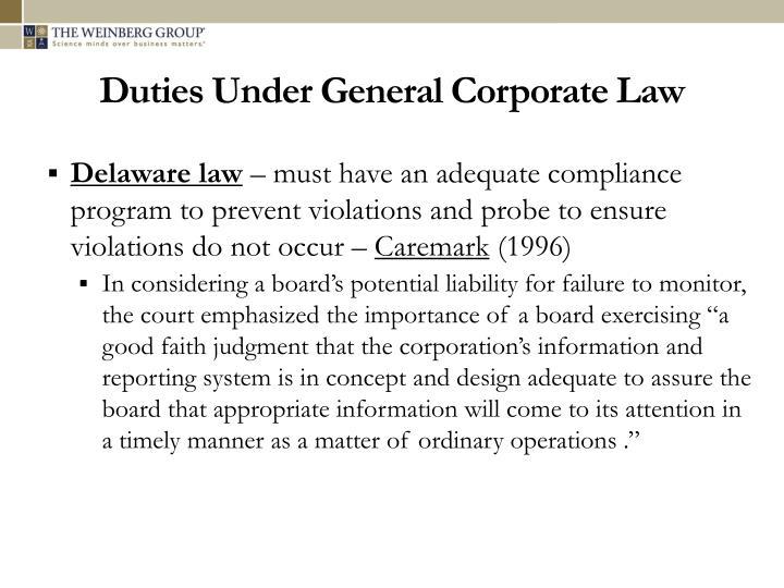 Duties Under General Corporate Law