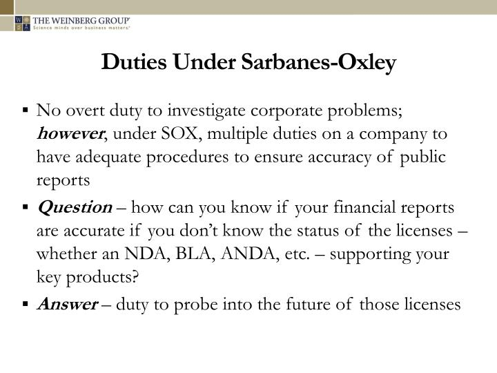 Duties Under Sarbanes-Oxley