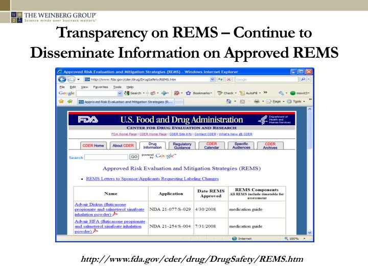 Transparency on REMS – Continue to Disseminate Information on Approved REMS