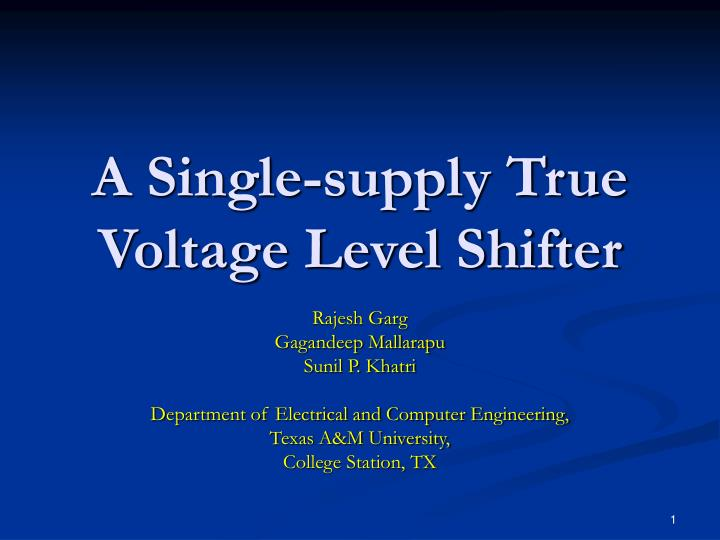 a single supply true voltage level shifter n.