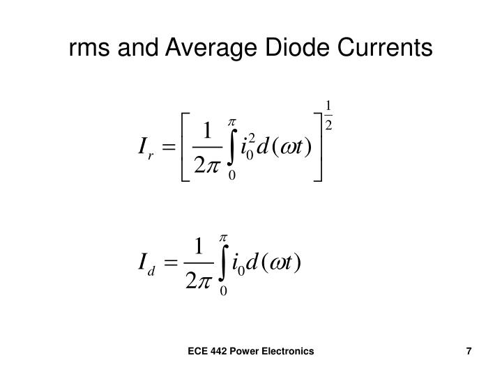 rms and Average Diode Currents