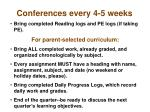 conferences every 4 5 weeks