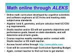 math online through aleks