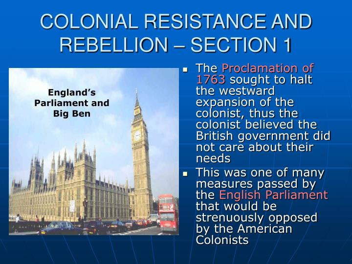 Colonial resistance and rebellion section 1