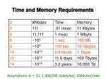 time and memory requirements1