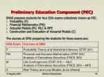 preliminary education component pec