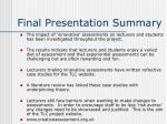 final presentation summary