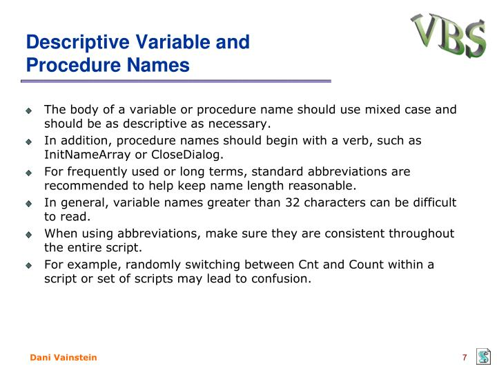 Descriptive Variable and Procedure Names