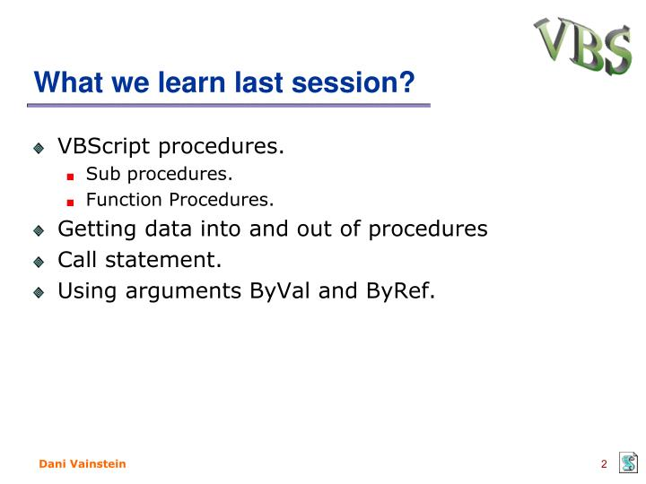 What we learn last session