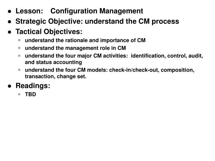 Lesson:Configuration Management