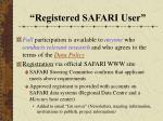 registered safari user
