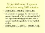 sequential sums of squares definition using sse notation
