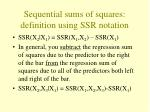 sequential sums of squares definition using ssr notation