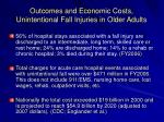 outcomes and economic costs unintentional fall injuries in older adults