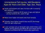 unintentional fall injuries ma residents ages 65 years and older age sex race
