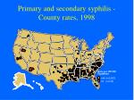 primary and secondary syphilis county rates 1998