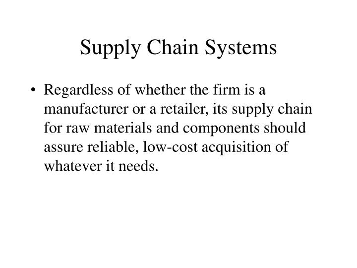 Supply Chain Systems