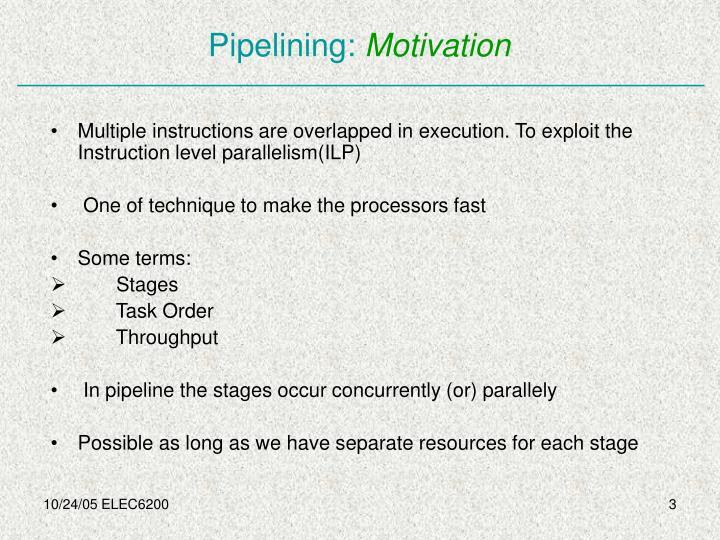 Pipelining motivation