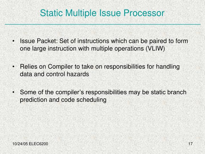 Static Multiple Issue Processor