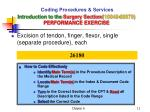 coding procedures services introduction to the surgery section 10040 69979 performance exercise